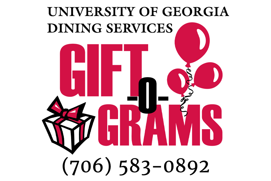 Graphic reading: University of Georgia Dining Services Gift-O-Grams (706) 583-0892.